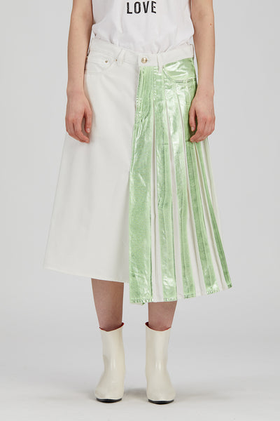 0028 DRIS Skirt White + Lamina Green