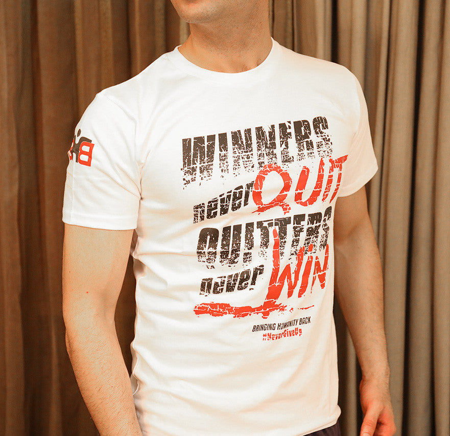 Shop for Cause-Winners Never Quit, Glossy Graphic Unisex T-shirt, Free Shipping