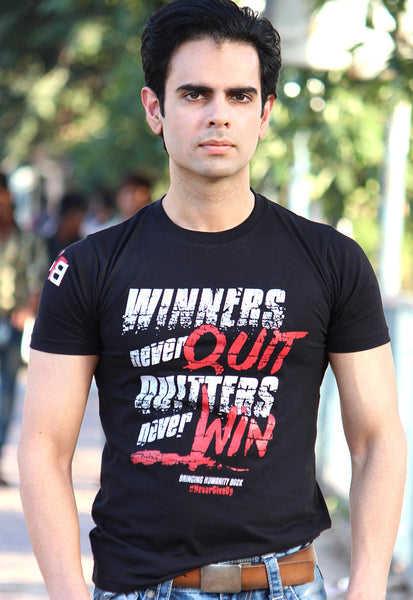 Unisex Winners Never Quit, Glossy Graphic, Shop for Cause. Free Shipping