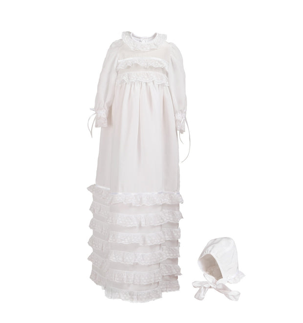 The Baroni White Silk and Lace Christening Robe - Baroni Firenze - 1