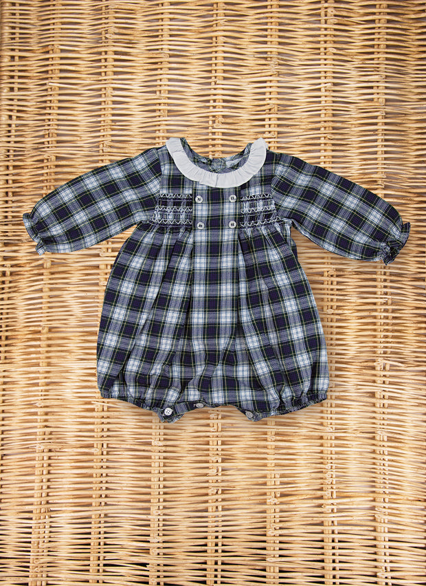 Tartan Romper with long sleeves