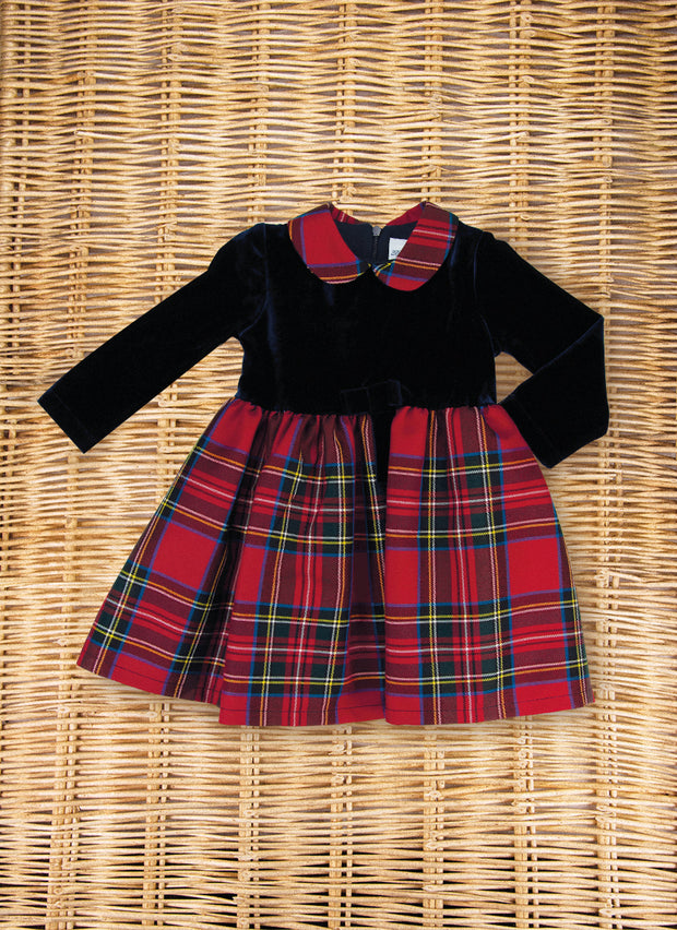 Chenille dress with tartan skirt