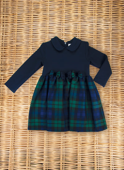 Jersey dress with tartan skirt