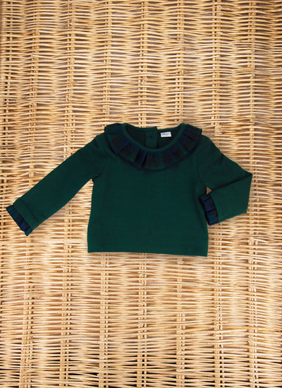 Jersey Sweater with tartan rouches collar