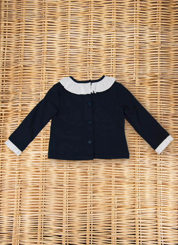 Jersey Sweater with rouches collar