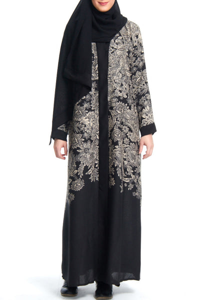 Alia - Open Front Black Abaya  with Oversized Floral Pattern