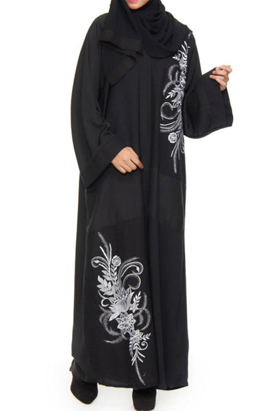 Amani - Long Sleeve Black Abaya with Large White Floral Embroidery