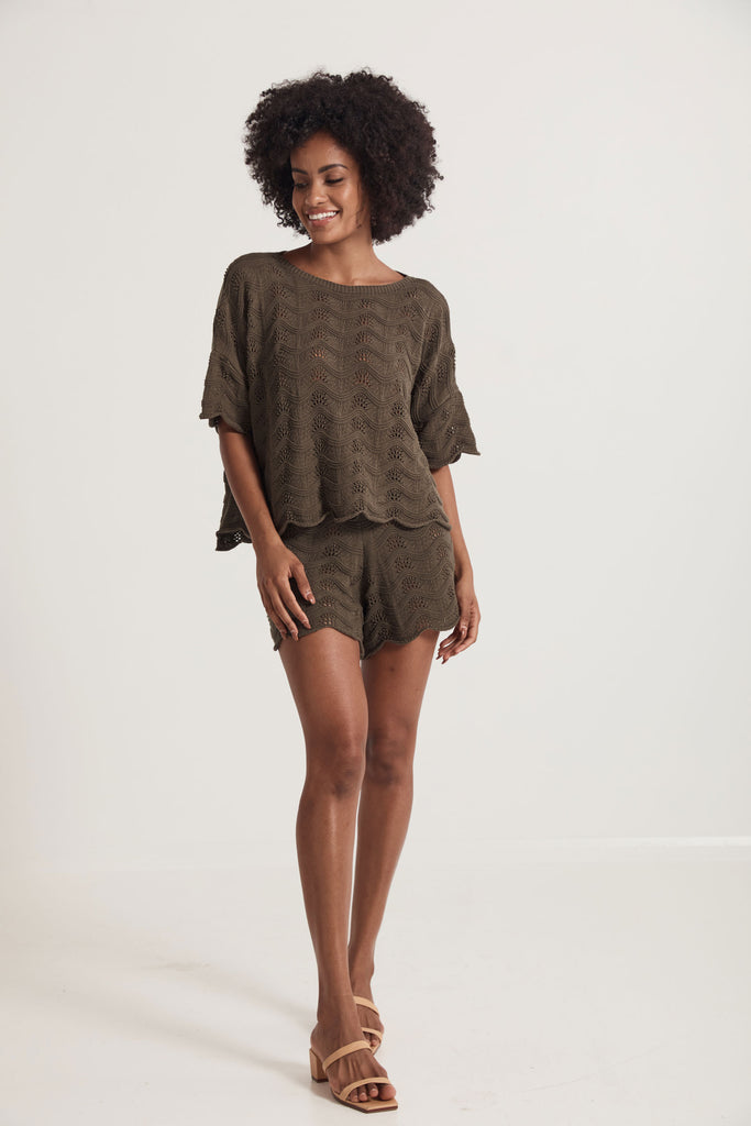 Daintree Knitted Tee  -  Green