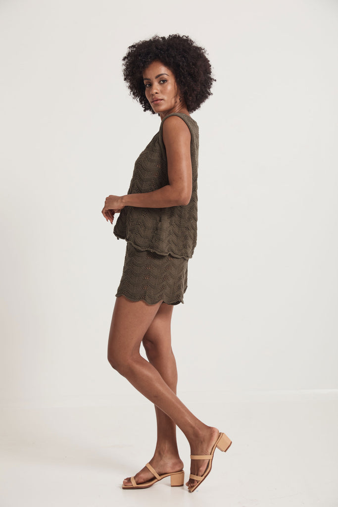 Daintree Knitted Cami  -  Green