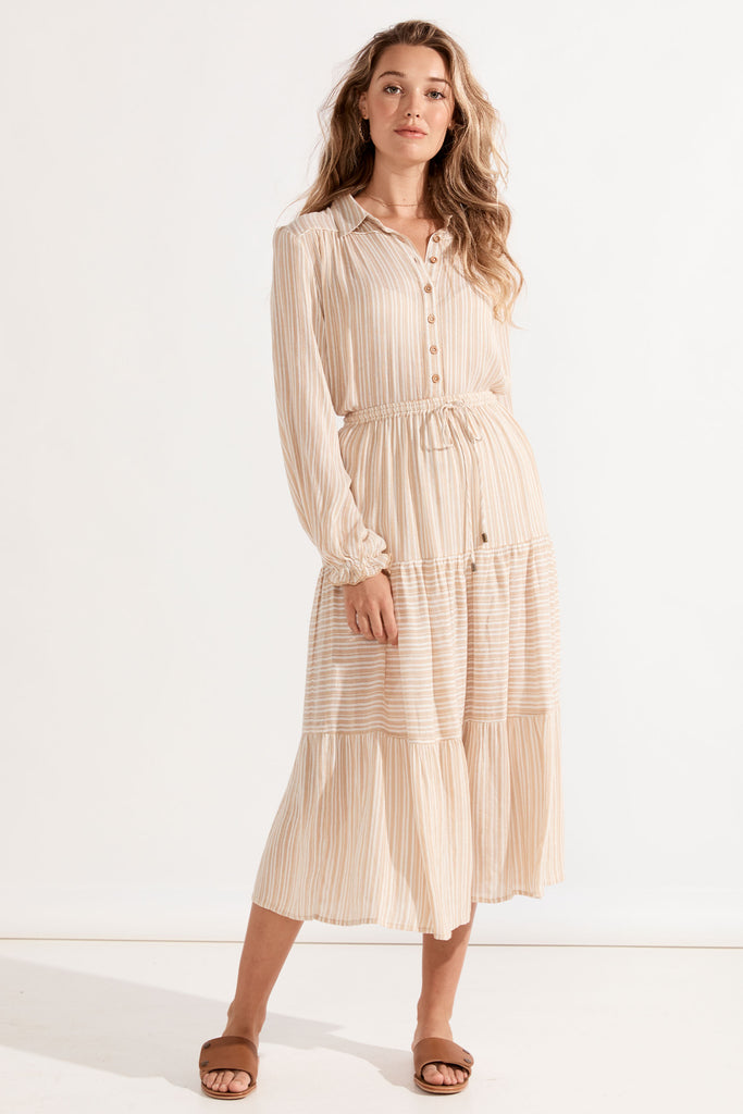 Carolina Midi Skirt - Almond Stripe