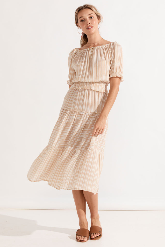 Carolina Romance Dress - Almond Stripe