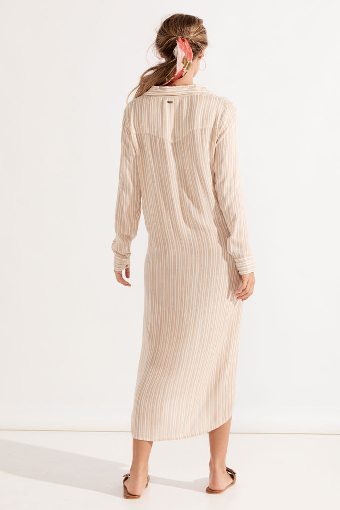 Carolina Shirt Dress - Almond Stripe