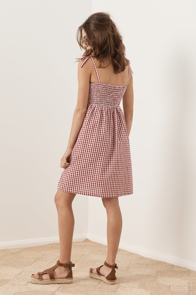 Freya Mini Dress - Red Gingham