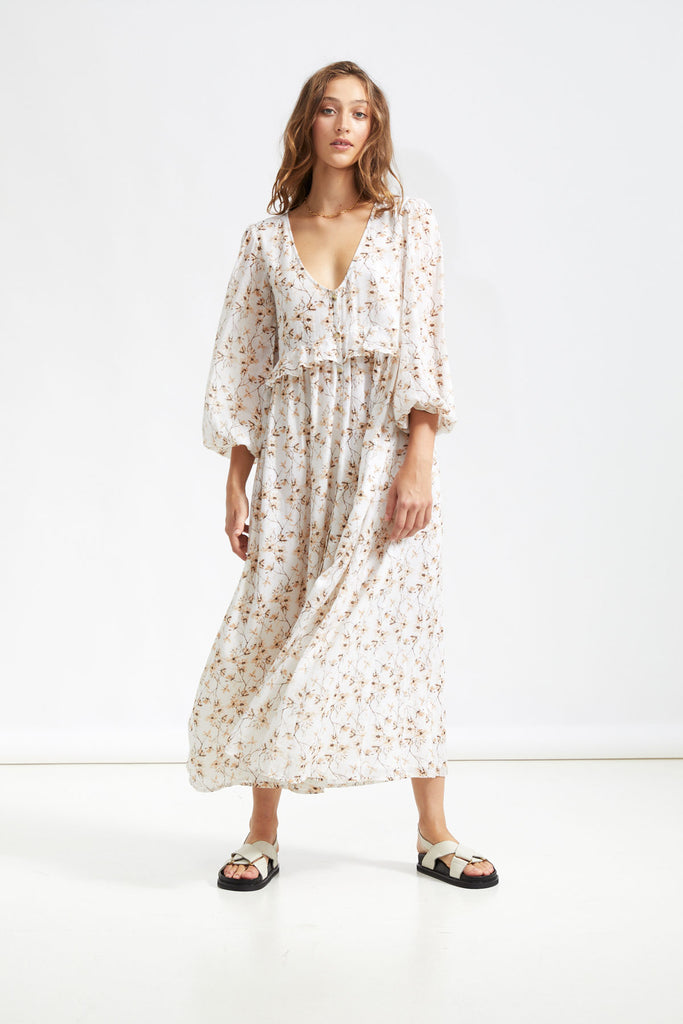 Gabrielle Maxi Gown - Tropical White