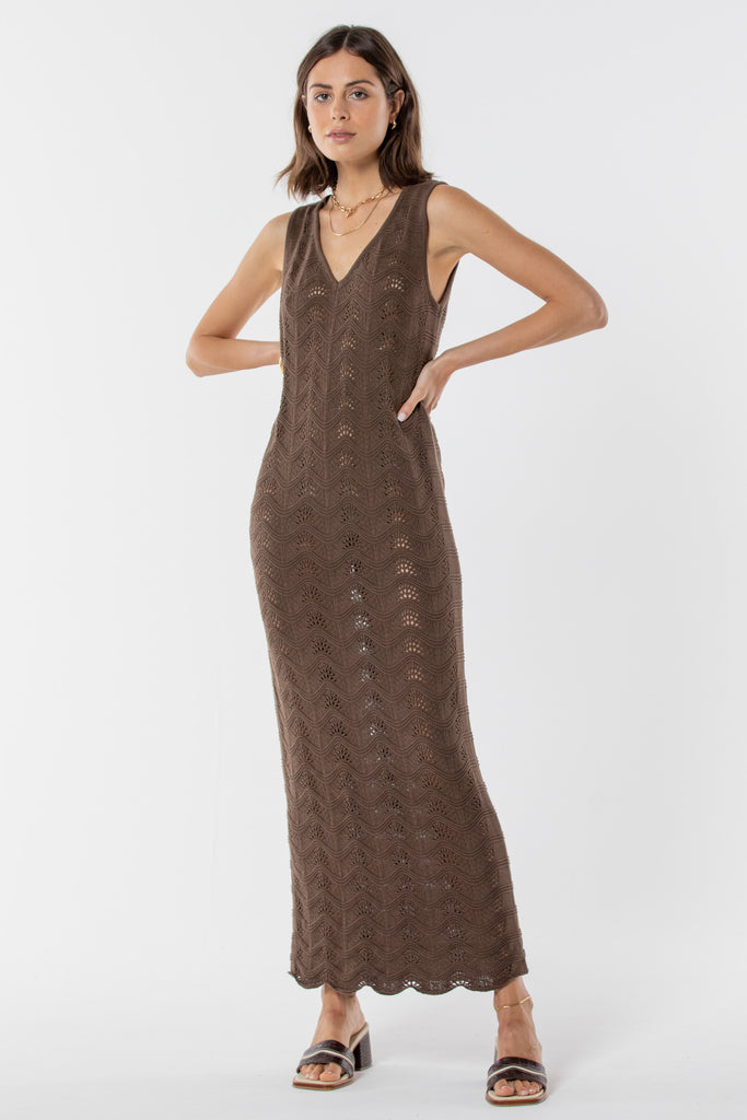 Hayman Knitted Maxi Dress -  Coffee