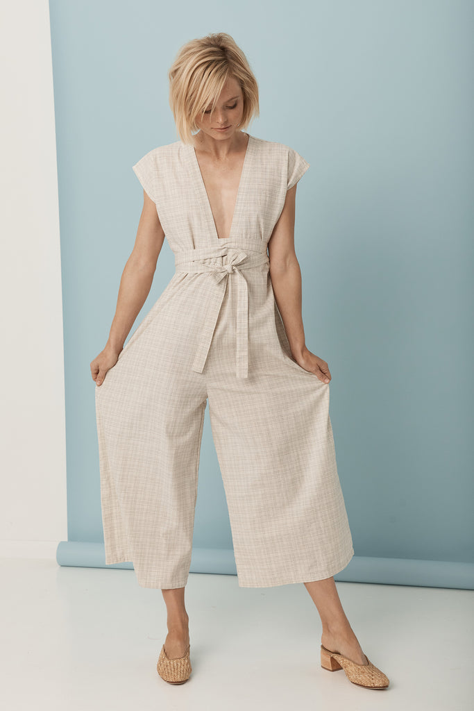 Juniper Pantsuit - Cream / Blue Texture