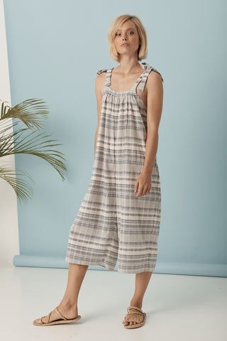 Mademoiselle Day Dress - Blue Gingham Texture