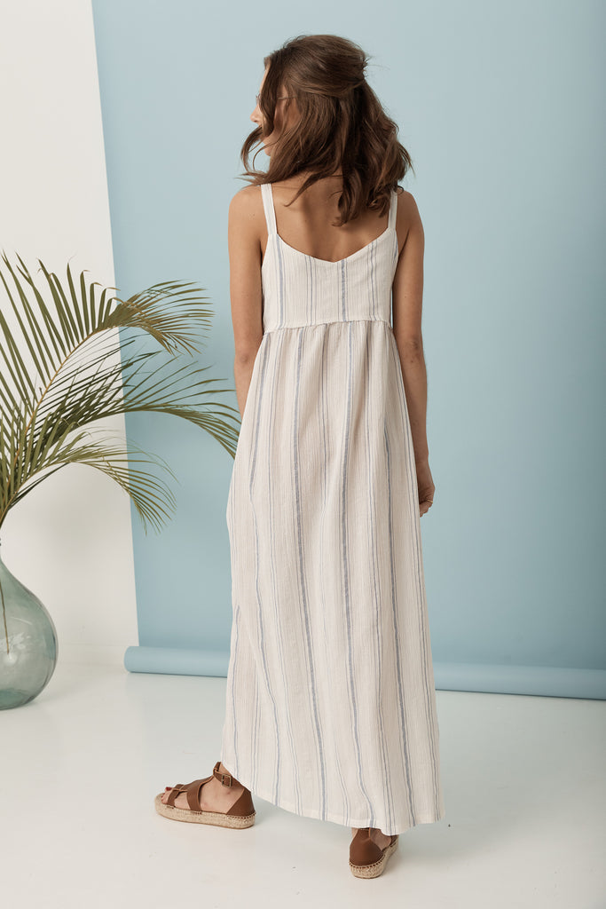 Midsummer Dress - Blue / White Stripe