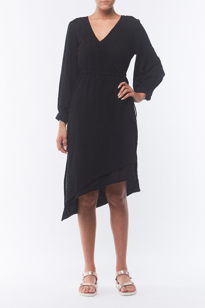 Pania Wrap Dress - Smokey Black
