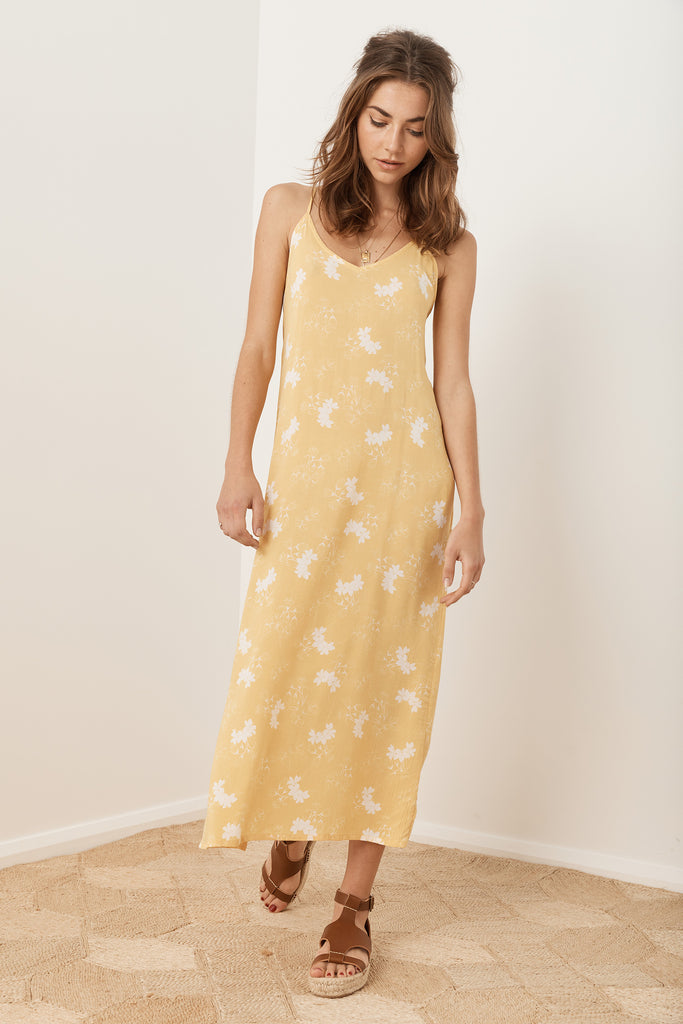 Lourdes Slip Dress - Cornsilk Floral
