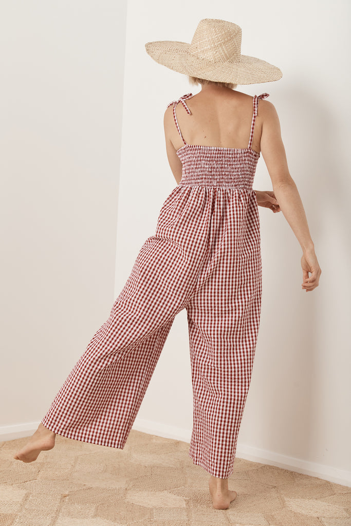 Freya Jumpsuit - Red Gingham