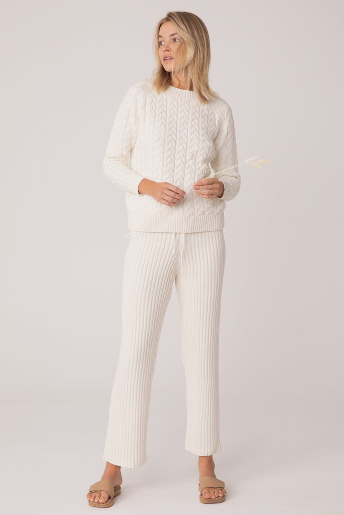 Wategos Cable Knit Pant - Light Cream