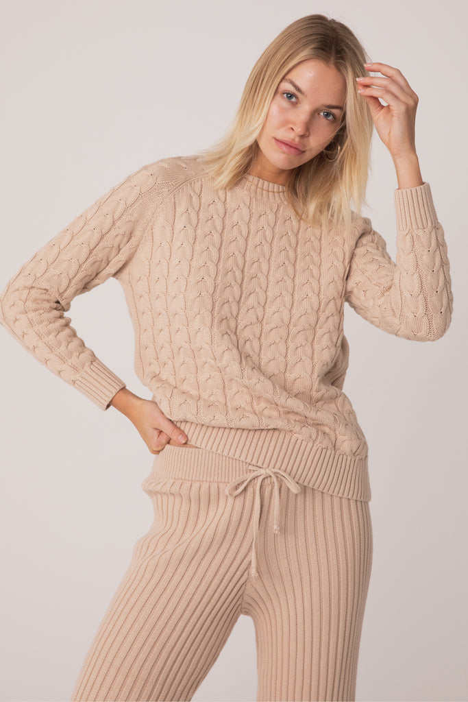 Wategos Cable Knit Top - Sand Beige