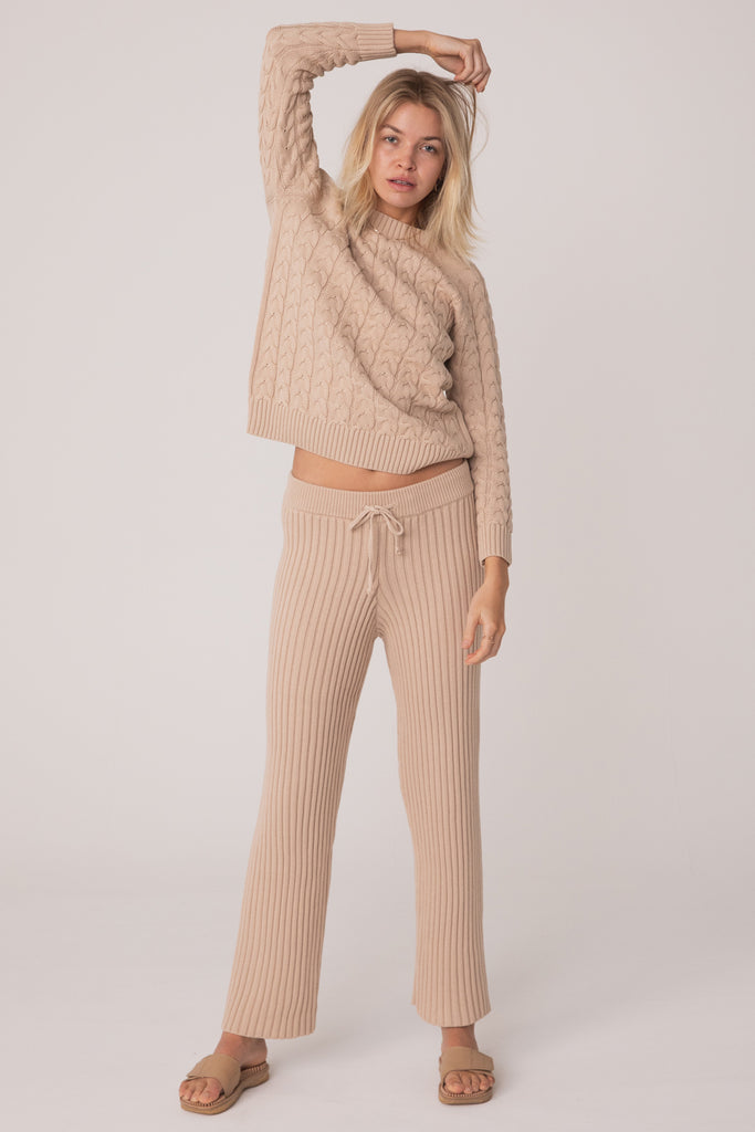 Wategos Cable Knit Pant - Sand Beige