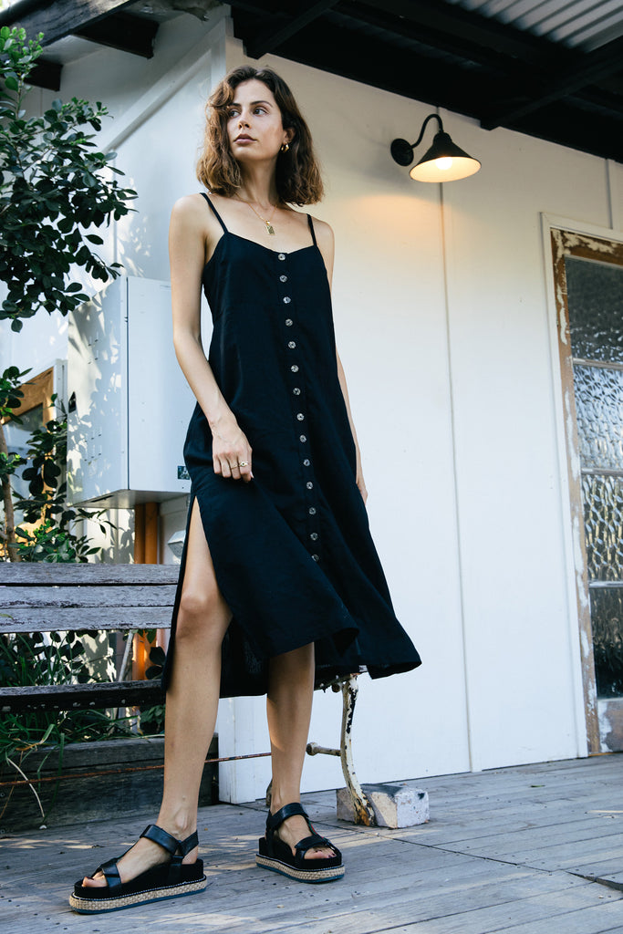 Nouvelle Linen Dress - Black