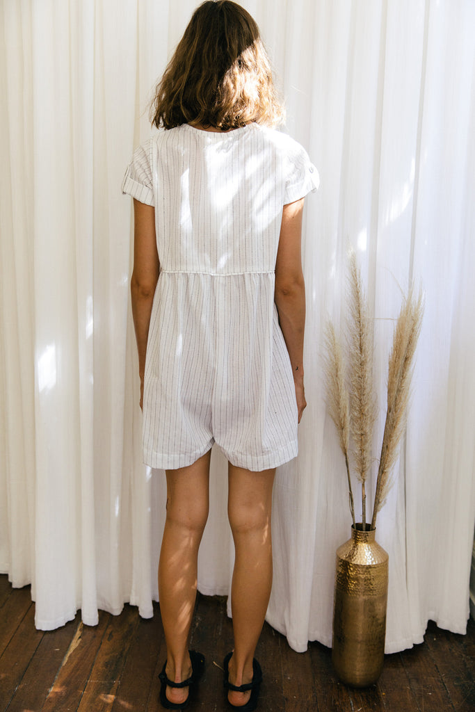 Olives and Feta Romper - White Pinstripe