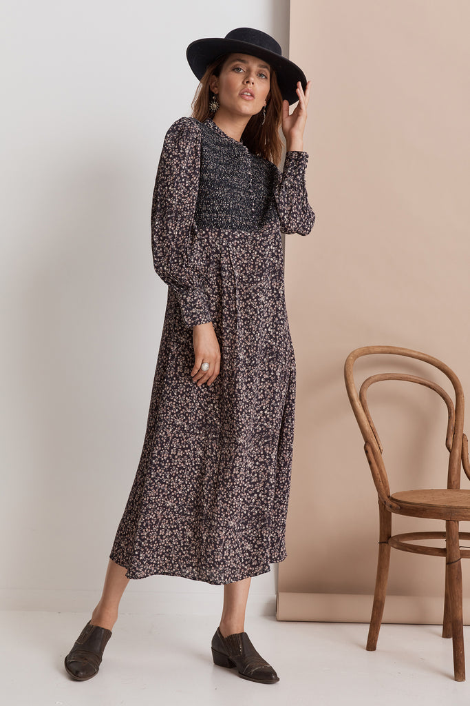 Shangri-La Midi Dress | Midnight Floral