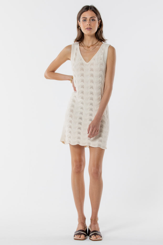 Scarborough Knitted Mini Dress - Creme