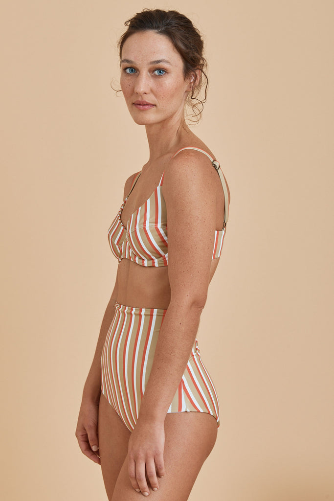 Milos Balconette Top - Stripe Coral