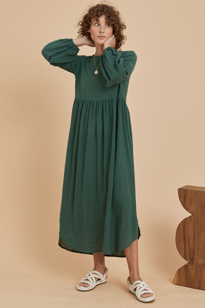 Sovereign Smock Maxi Dress - Clover