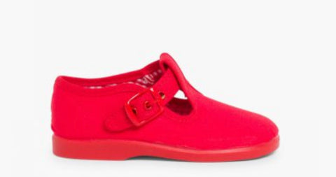 RED CANVAS T BAR SHOE