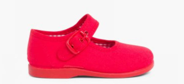 RED CANVAS MARY JANE  SHOE