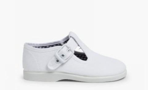WHITE CANVAS T BAR SHOE