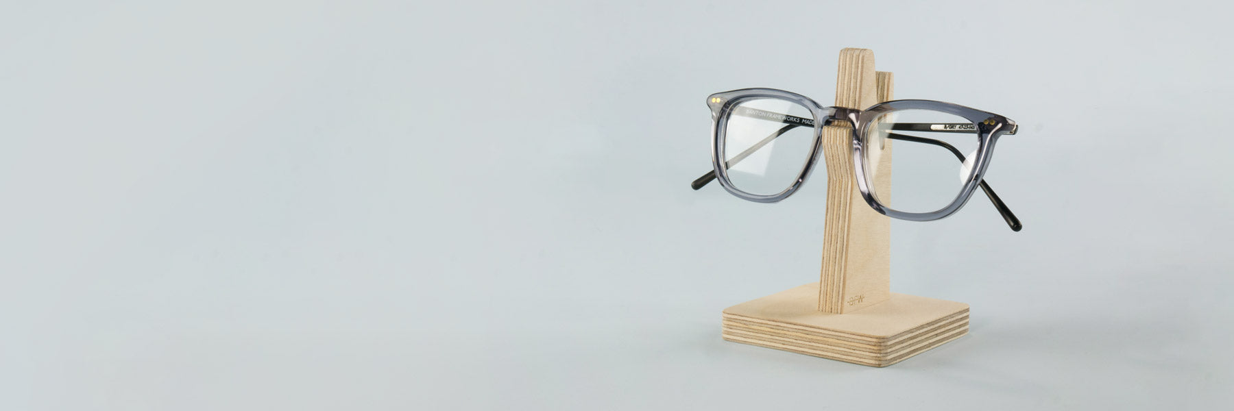 A wooden glasses holder
