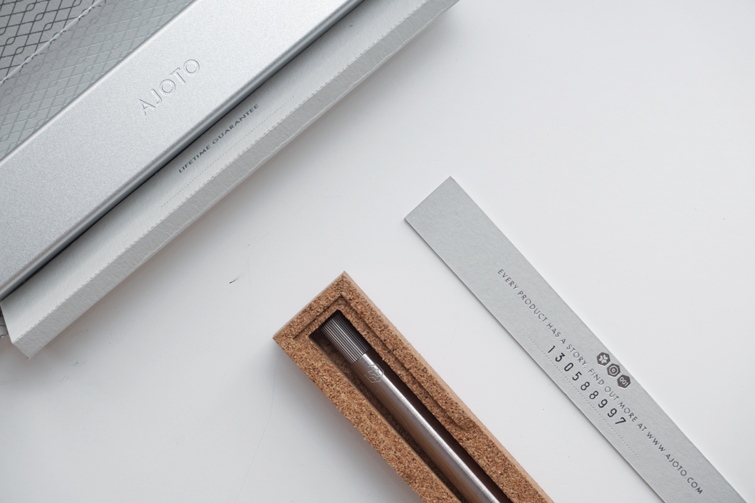AJOTO-Ajoto-Packaging-Silverfoil-G.F Smith- Colorplan-MakeYourMark-Luxury-ThePen-Brass-BeautifullToolsForYourJourney-Manchester
