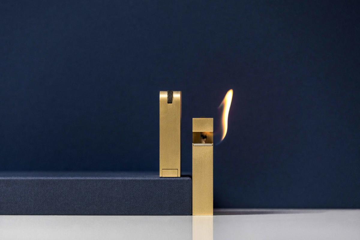 Solid brass lighter by studio KNNOX London. Desmon and Jessica Ware.