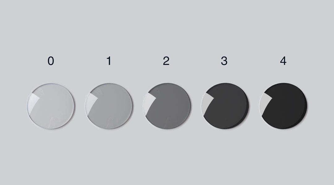 5 sunglasses lenses with different levels of tint darkness