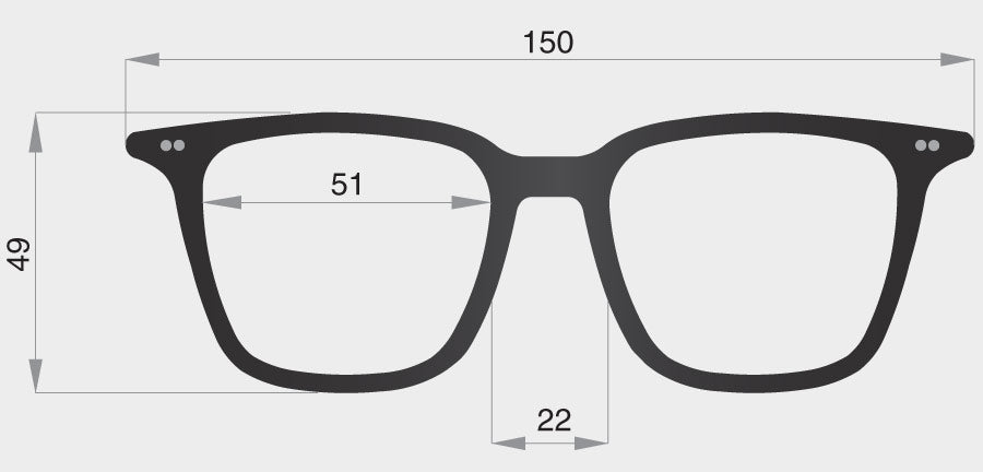 A spectacle model frame front dimensions