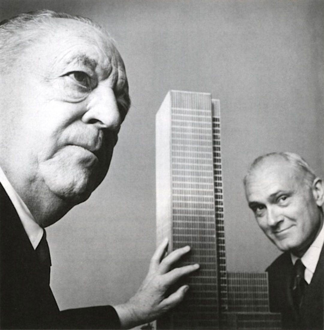 Architects Mies van der Rohe and Philip Johnson together with scale model of the Seagram building