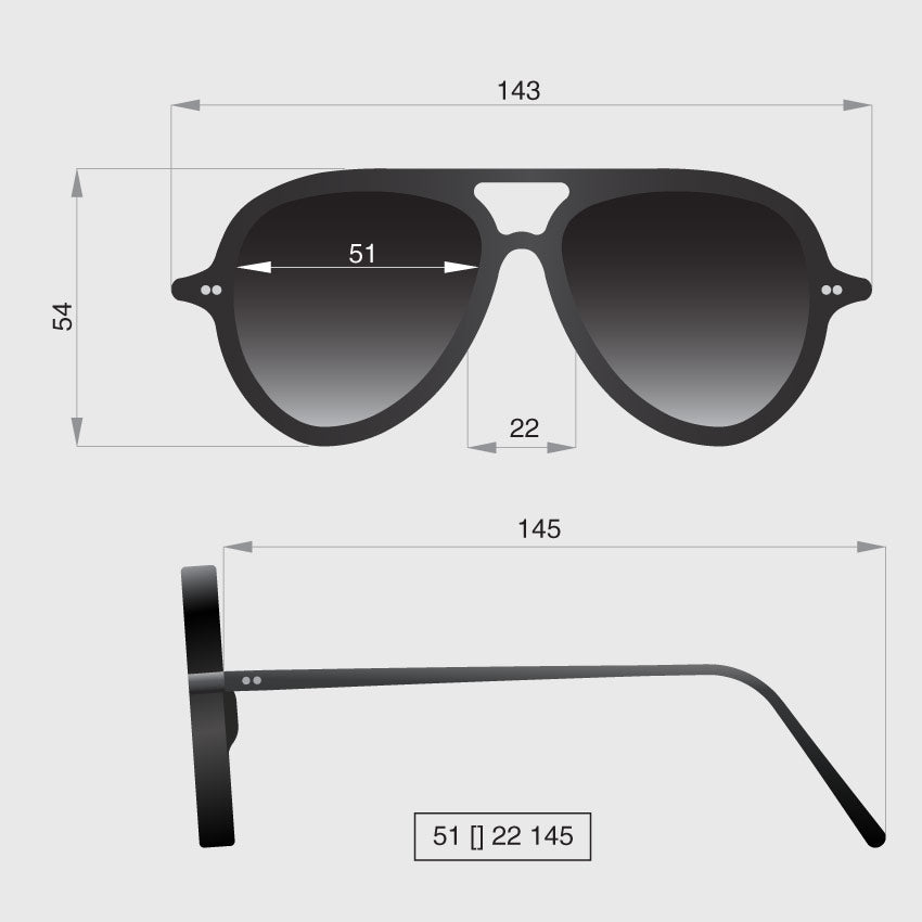 Aviator original sunglasses dimensions by Banton Frameworks
