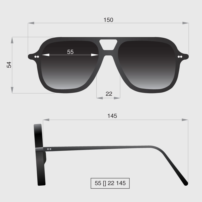 Aviator square sunglasses dimensions