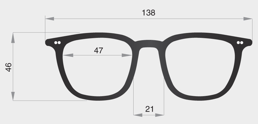 B spectacle model frame front dimensions