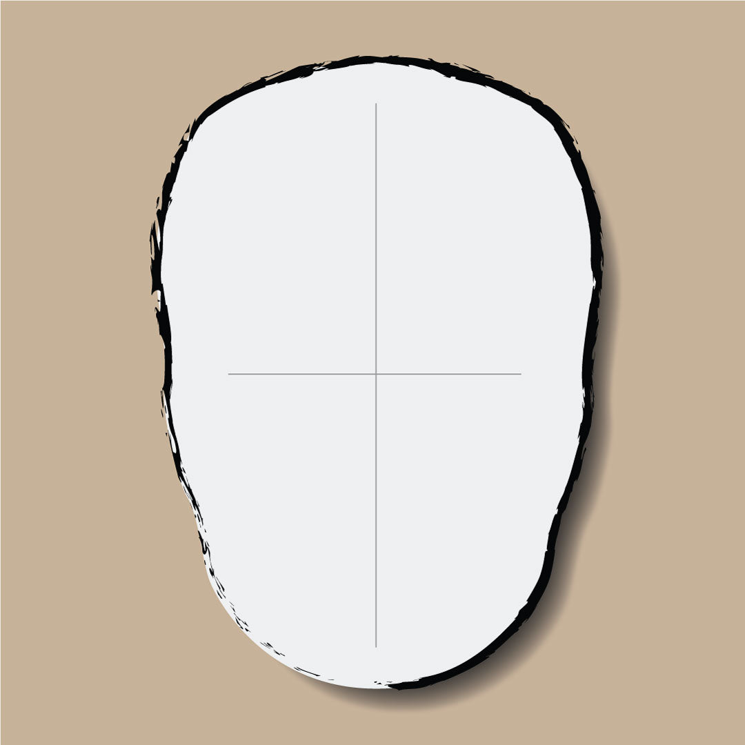 Bald head oval face shape illustration