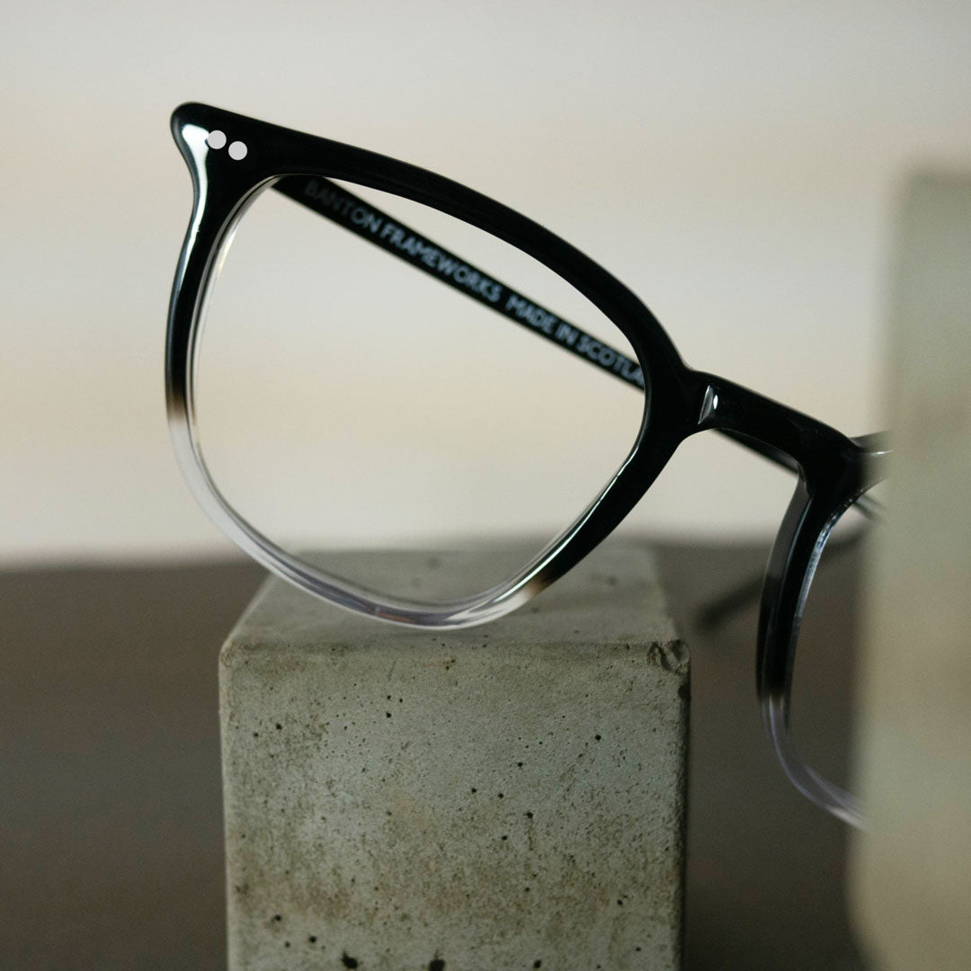 Black and clear glasses frame