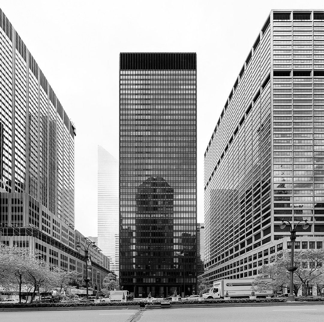 Black and white image of the Seagram building in Midtown Manhattan New York City