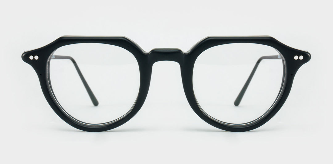 Black round glasses frame with black arms